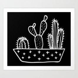 Cactus Planter Gray on Black Art Print