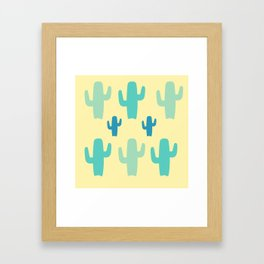 Green Cactus with Yellow Background Framed Art Print
