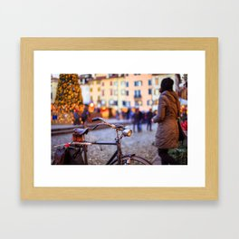 Bicycle in front of a christmas tree Framed Art Print