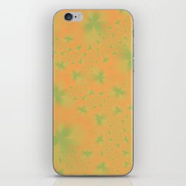Green Abstract Flowers on Mustard iPhone Skin
