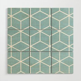Light Blue and White - Geometric Textured Cube Design Wood Wall Art