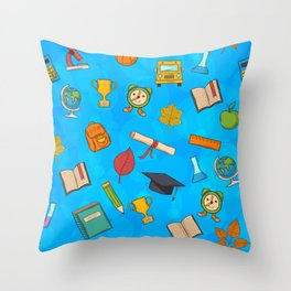 Back to school on blue background Throw Pillow