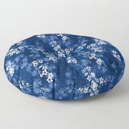 Sakura blossom in deep blue Floor Pillow