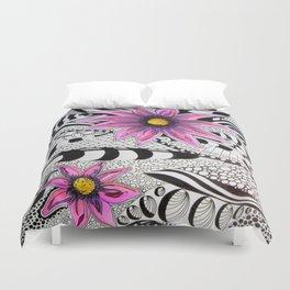 Zentangle Flowers Duvet Cover