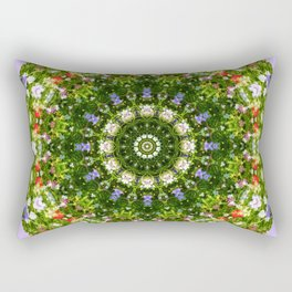 Nature Flower Mandala, Wildflowers, Floral mandala-style Rectangular Pillow