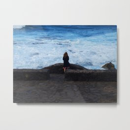 Ocean lover, meditation in front of the sea Metal Print