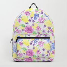 Butterflies With Roses and Flowers Hand Painted In Watercolors and Gouche Backpack