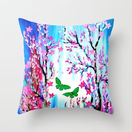 Butterflies and Cherry Blossom Throw Pillow