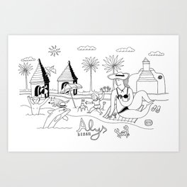 Funny Figurative Line Drawing of Alys Beach Community on 30a Art Print