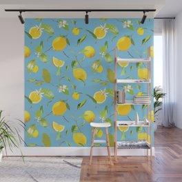 Watercolor Lemon & Leaves 9 Wall Mural