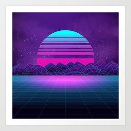 Future Sunset Vaporwave Aesthetic Art Print