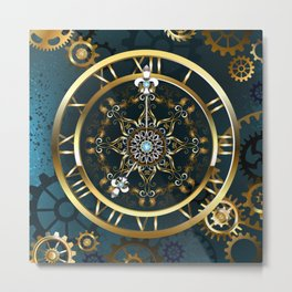 Steampunk Golden Clock on Turquoise Background Metal Print