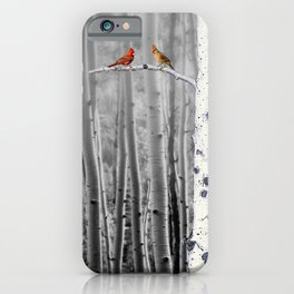 Red Cardinals in Birch Forest A128 iPhone Case