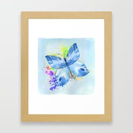 Blue Butterfly Watercolor Rainbow And Gold Framed Art Print