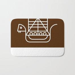 Viking Dragon Ship. Scandinavian pattern. Chocolate. Bath Mat