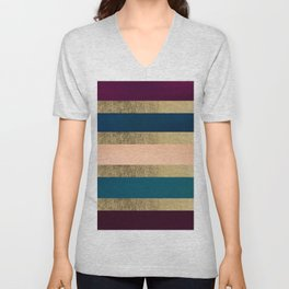 Geometrical coral navy blue burgundy gold watercolor Unisex V-Neck