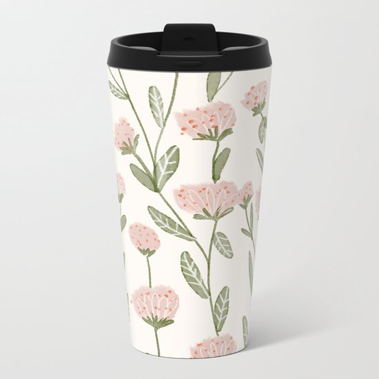 Rose Garden Pattern Metal Travel Mug