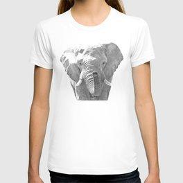 Black and white elephant illustration T-shirt