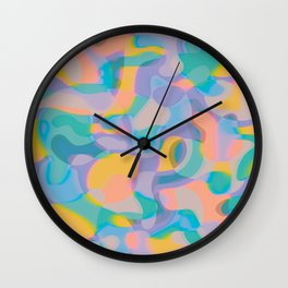Neon Shapes / Vibrant, Colorful Abstraction Wall Clock