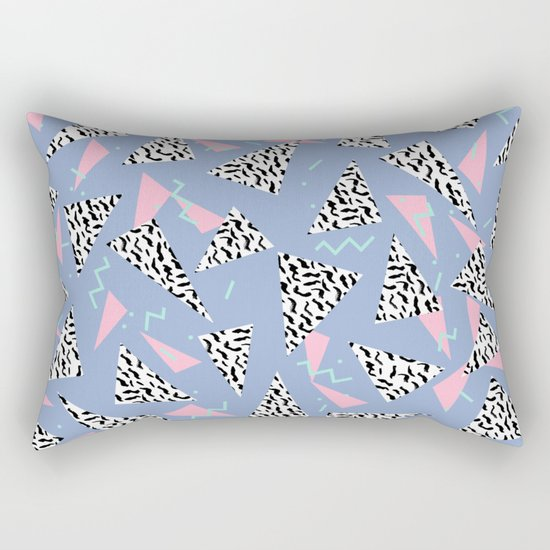 Trendy triangles geometric pop pattern pink black and white minimal gifts Rectangular Pillow