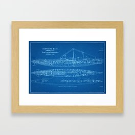 H.M.S. Nautilus Submarine - Blueprint Framed Art Print