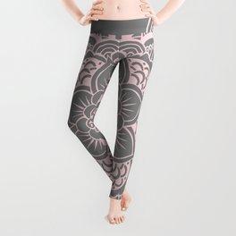 Mandala Flower Gray & Ballet Pink Leggings