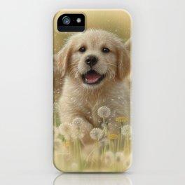 Golden Retriever Puppy - Dandelions iPhone Case