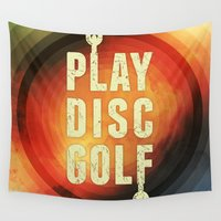 golf Wall Tapestries featuring Play Disc Golf by Phil Perkins
