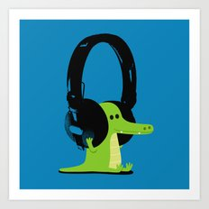 Le crocodile mélomane (blue) Art Print