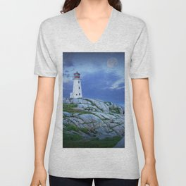 Lighthouse at Peggy's Cove in the Moonlight Unisex V-Neck