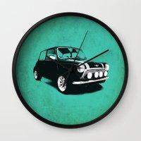 mini cooper Wall Clocks featuring The Mini Cooper by Mark Rogan