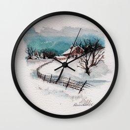The Winter Barn Wall Clock