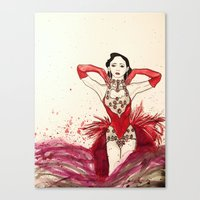 burlesque Canvas Prints featuring Burlesque  by Rachael Withers
