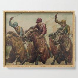 Vintage Finish Line Horse Jockeys Illustration (1891) Serving Tray