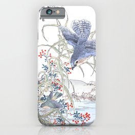 Kono Bairei - Hawk Chasing After Its Prey Over Swamp Water - Vintage Japanese Woodblock Print Art  iPhone Case