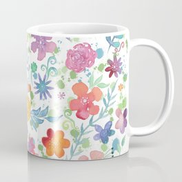 Colorful Whimsical Watercolor Flowers Pattern Coffee Mug