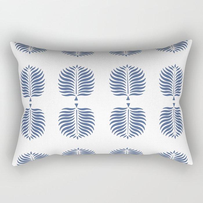 TROPICAL PALMS . WHITE + BLUE Rectangular Pillow