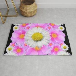 Ebony Black  Color Shasta Daisys & Rose Pattern Garden Art Rug