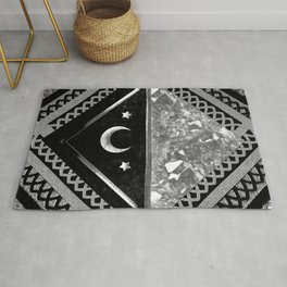 Moon and Lace Collage in Black and White Rug