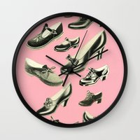 shoe Wall Clocks featuring Shoe Fetish by Cassia Beck
