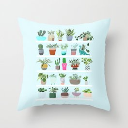 Succulent and Cactus shelfie Throw Pillow