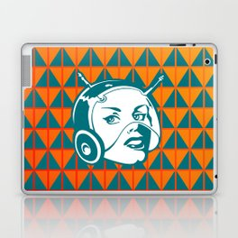Faces: SciFi lady on a teal and orange pattern background Laptop & iPad Skin