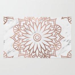 Marble mandala - floral rose gold on white Rug