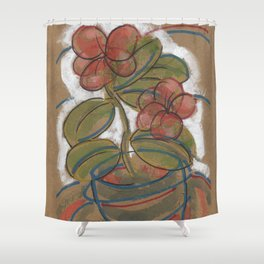 Pink Potted Flower Shower Curtain