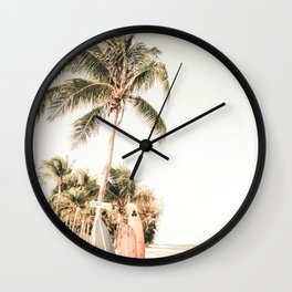 Surfboards and Palm Trees on the Beach Wall Clock