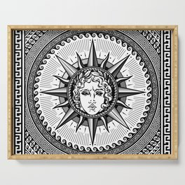 Apollo Sun God Symbol on Greek Key Ornament Serving Tray