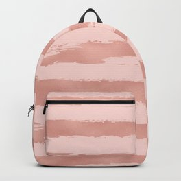 Elegant Rose Gold Metallic Handpainted Stripes Backpack