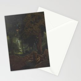 Early Dawn, The Fountain of Pirene forest landscape painting by Maxfield Parrish Stationery Cards