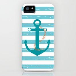 AFE Nautical Teal Ship Anchor iPhone Case