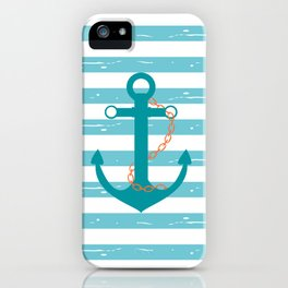 AFE Nautical Teal Ship Anchor iPhone Case